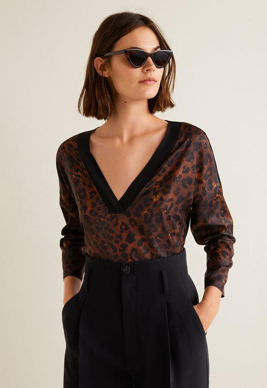 Блуза в леопардовый принт mango