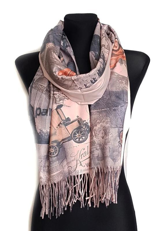 Палантин шарф город париж винтаж города кремово персиковый