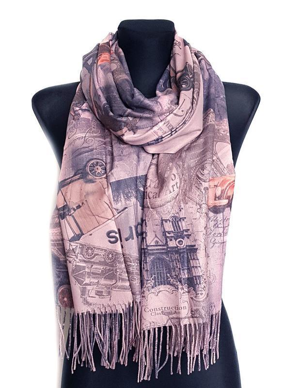 Палантин шарф город париж винтаж ретро сиренево-пудровый