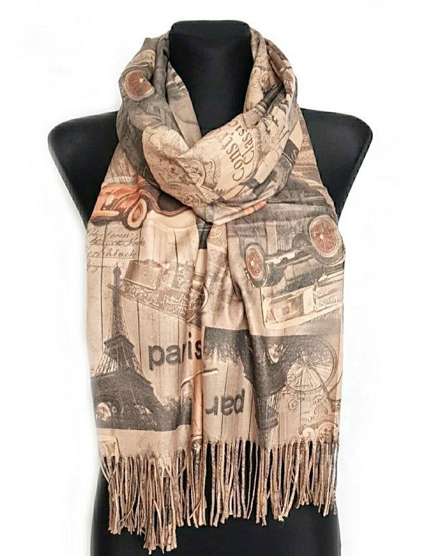 Палантин шарф город париж винтаж ретро