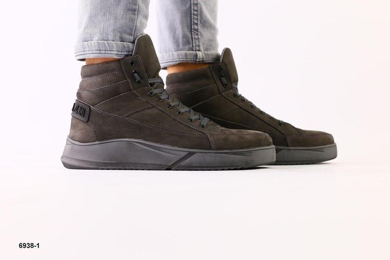 Зимние ботинки из нубука, серые - Фото 3
