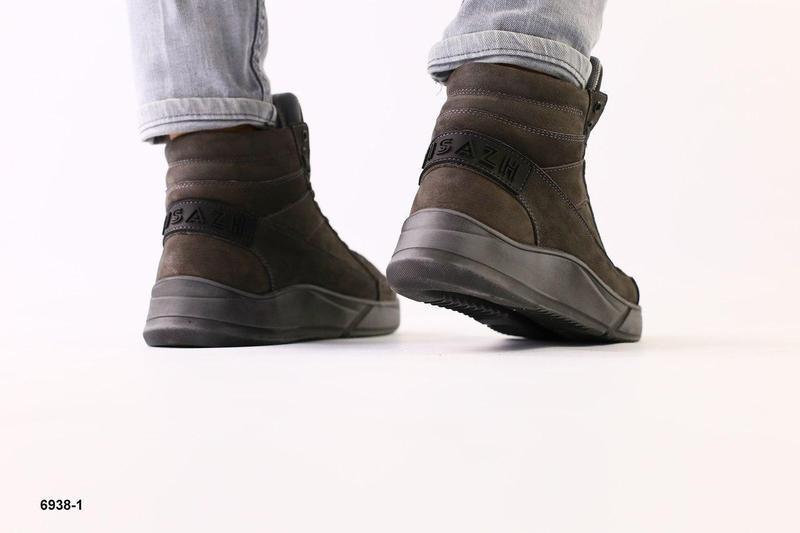 Зимние ботинки из нубука, серые - Фото 4
