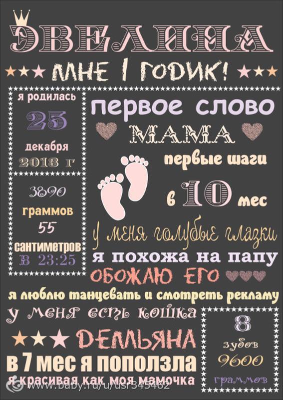 Плакат, постер, метрика детская, первый день рождения, достижения