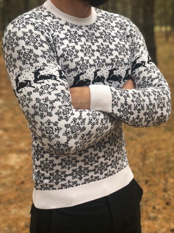 Новогодний  ❄ мужской свитер с оленями - Фото 4
