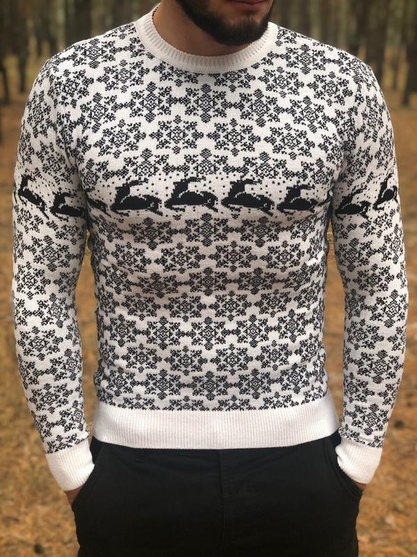 Новогодний  ❄ мужской свитер с оленями - Фото 5