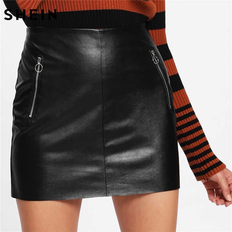 Кожаная юбка юбка из кожзама с молниями