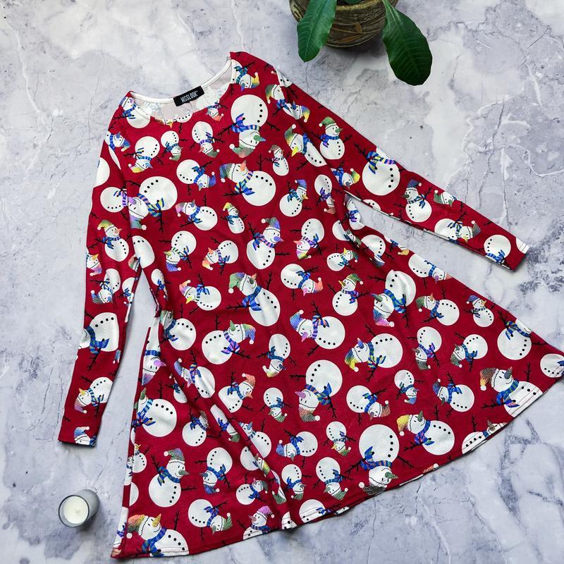 Новогоднее платье с снеговиками