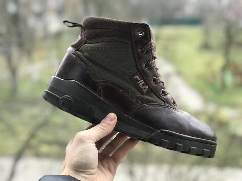 Fila vintage 90s brown leather hiking демісезонні шкіряні зимо...