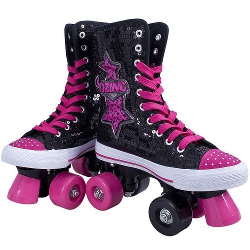 Ролики zinc retro skates роликовые кеды в пайетках стелька 22....