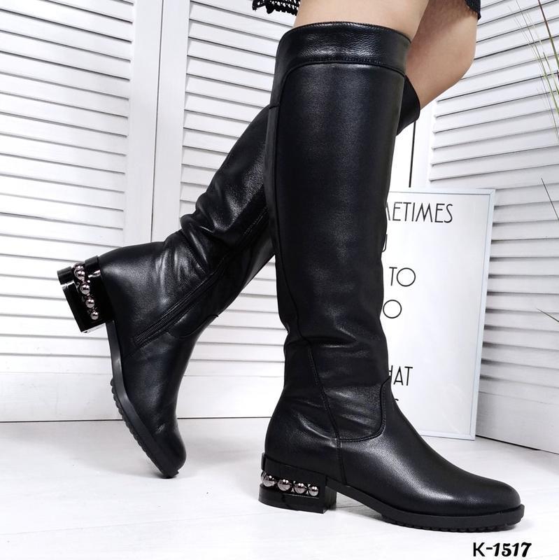 ❤ женские черные зимние кожаные высокие сапоги полусапожки на ...