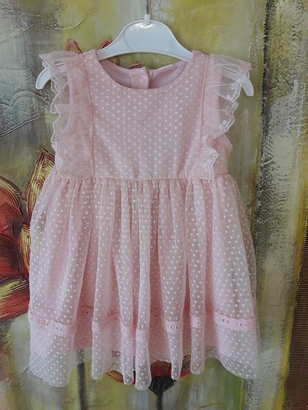 Нарядное розовое платье на рост 80-85 см.