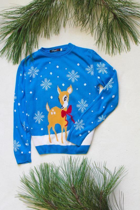 Детский новогодний свитер с бемби (32), 10-11 лет