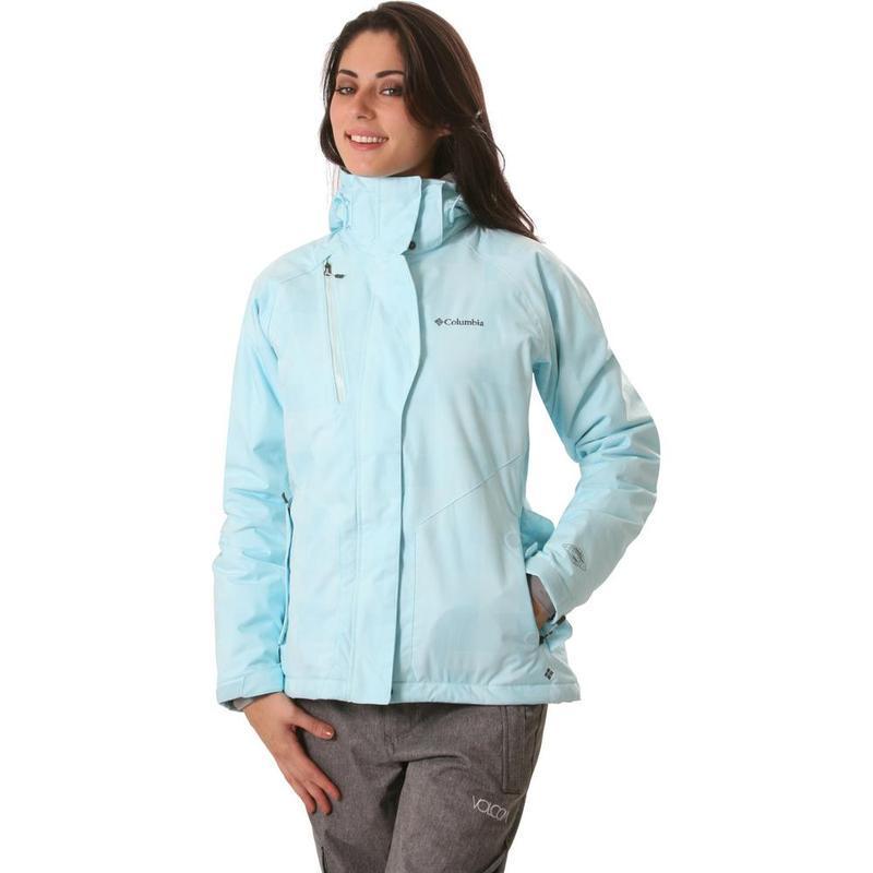 Женская голубая спортивная лыжная куртка columbia omni-tech де...