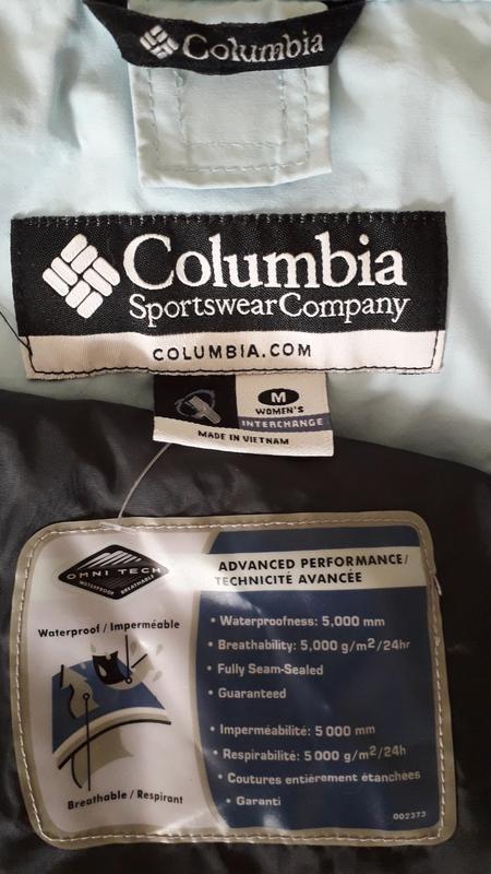 Женская голубая спортивная лыжная куртка columbia omni-tech де... - Фото 2