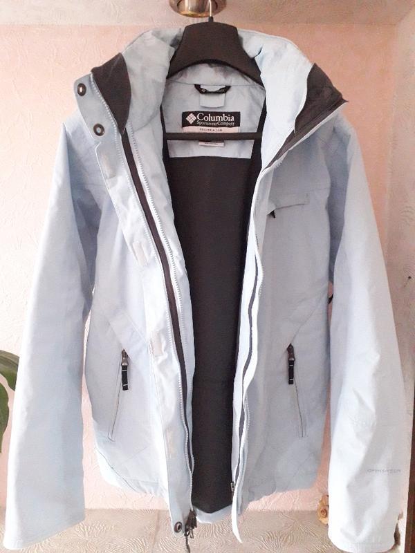 Женская голубая спортивная лыжная куртка columbia omni-tech де... - Фото 4