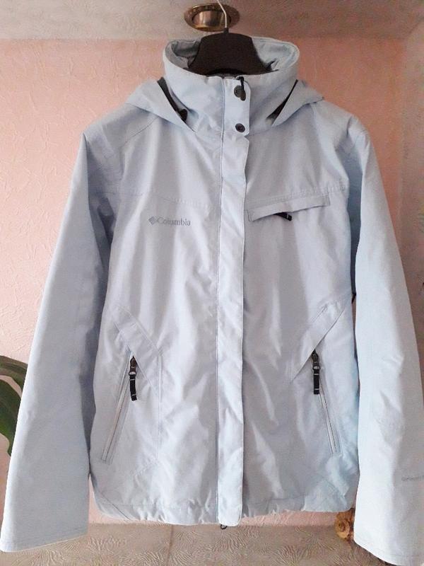 Женская голубая спортивная лыжная куртка columbia omni-tech де... - Фото 5