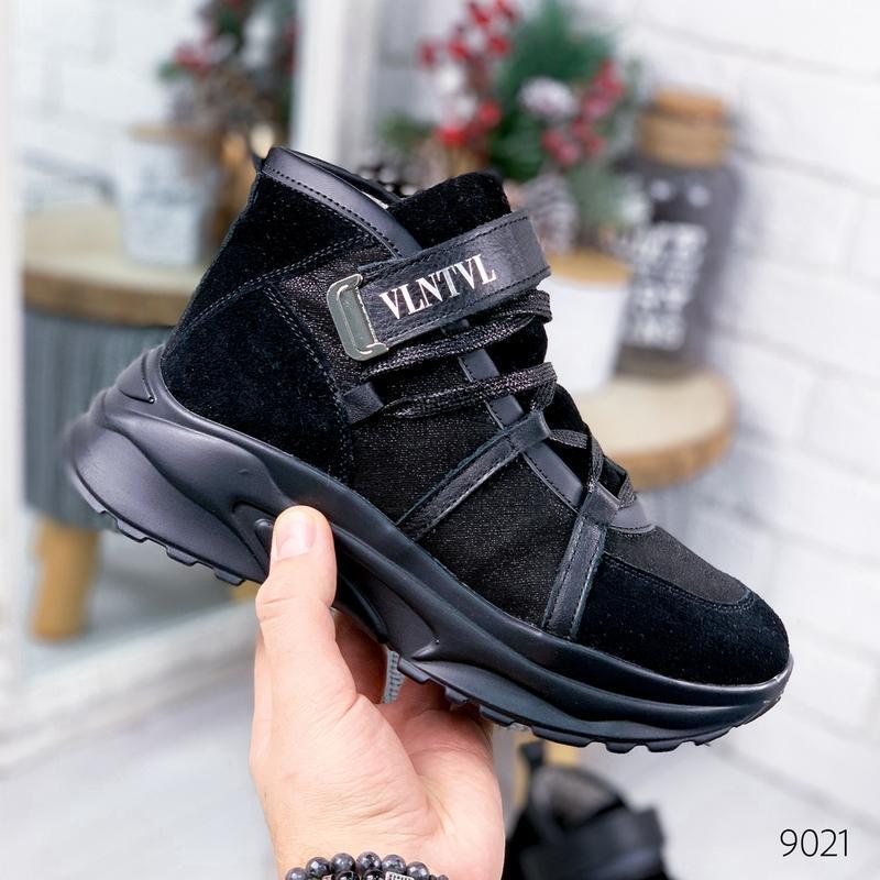 ❤ женские черные зимние кожаные ботинки сапоги полусапожки на ...