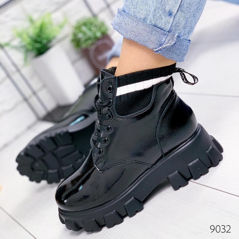 ❤ женские черные зимние ботинки сапоги полусапожки на меху ❤