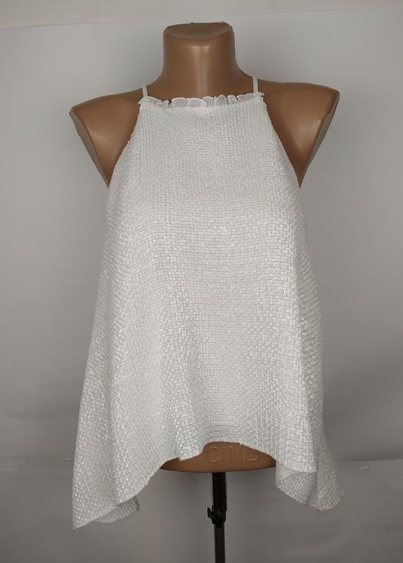 Блуза шикарная белоснежный в паетках zara uk 12/40/m