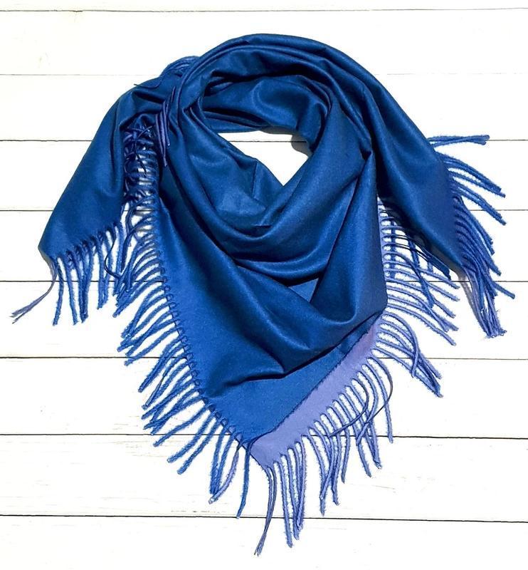 Теплый двухсторонний платок косынка синий электрик сиреневый в...