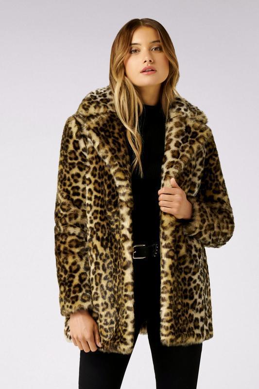Трендовая шуба из леопардовый тигровый звериный принт next