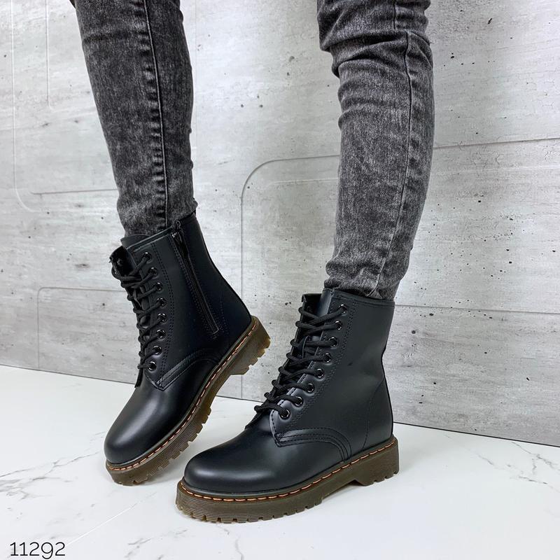 Чёрные ботинки мартинсы,ботинки на массивной подошве, высокие ...
