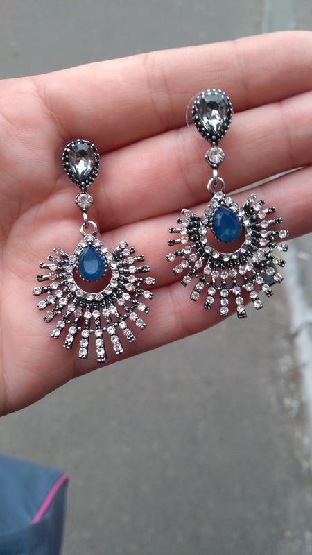 Шикарные серьги с камнями/гвоздики/серебристые/синие/серые - Фото 7
