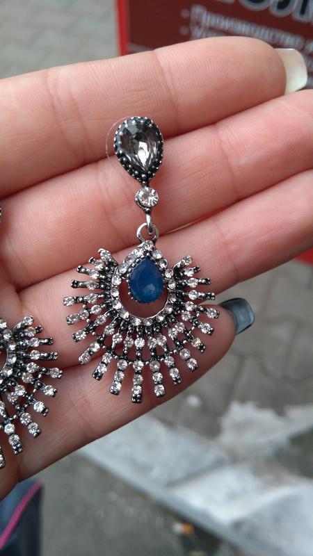 Шикарные серьги с камнями/гвоздики/серебристые/синие/серые - Фото 9