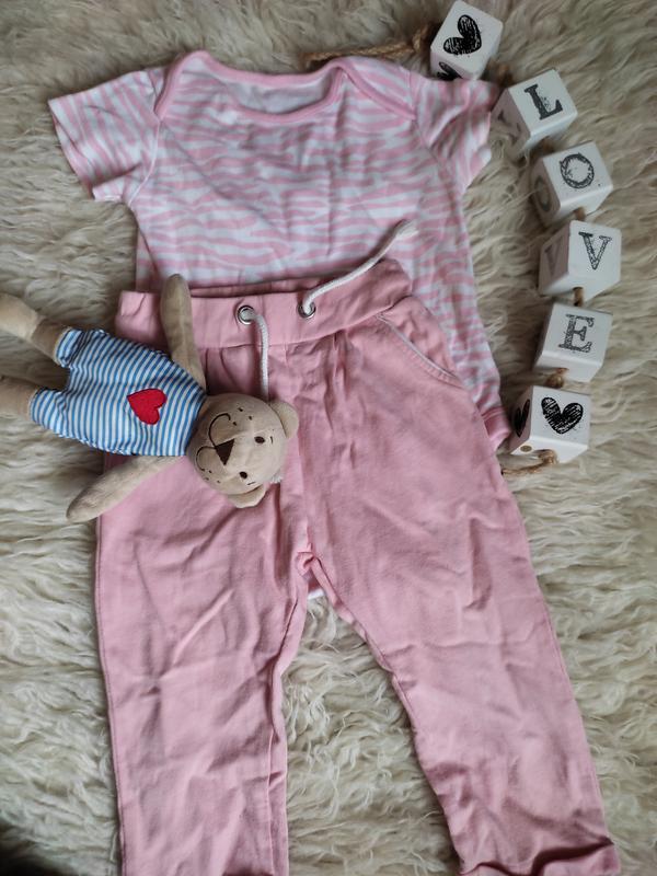 Костюм бодик штаны розовый
