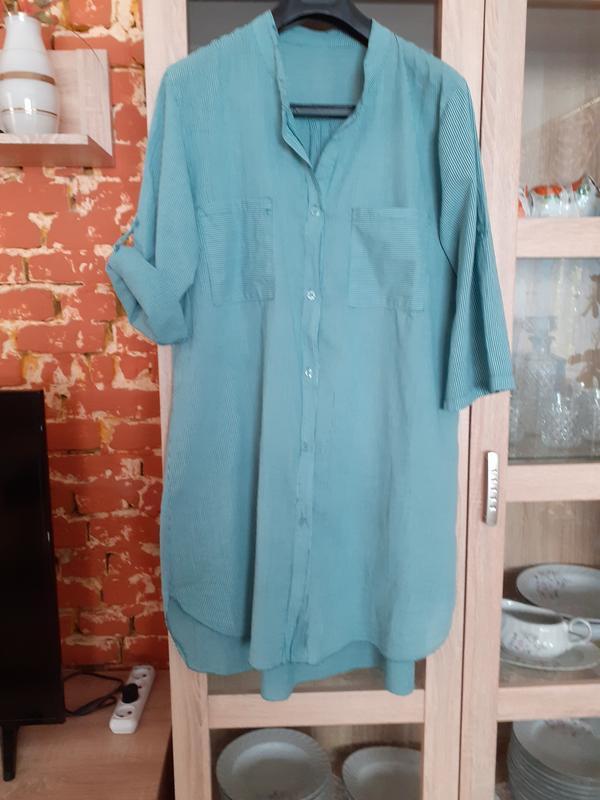 Стильное котоновое платье рубашка большого размера