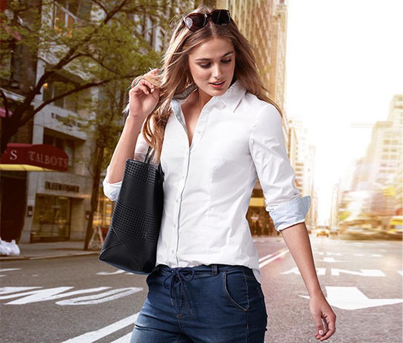 Рубашка женская белая tcm tchibo германия размер 46 евро