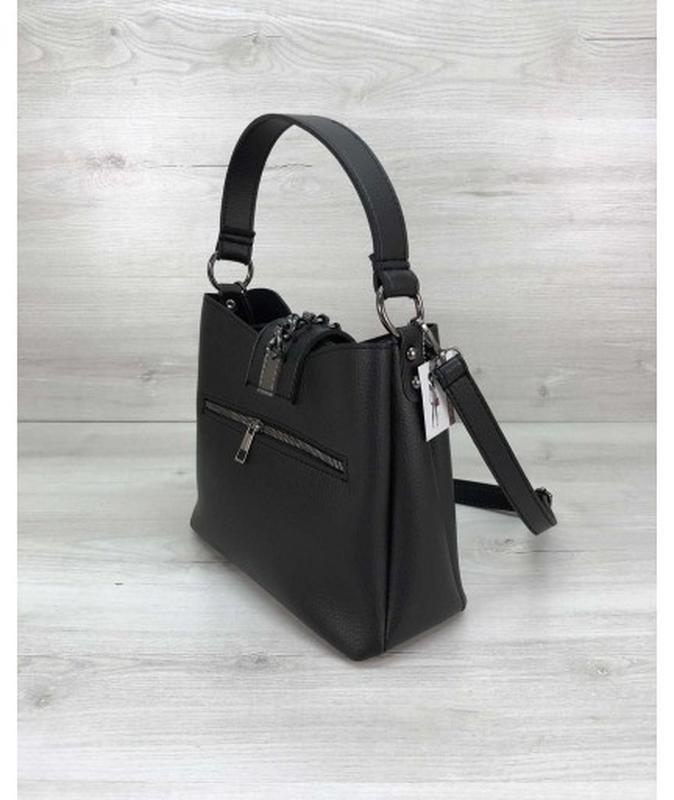 Молодежная женская сумка сати черного цвета - Фото 2