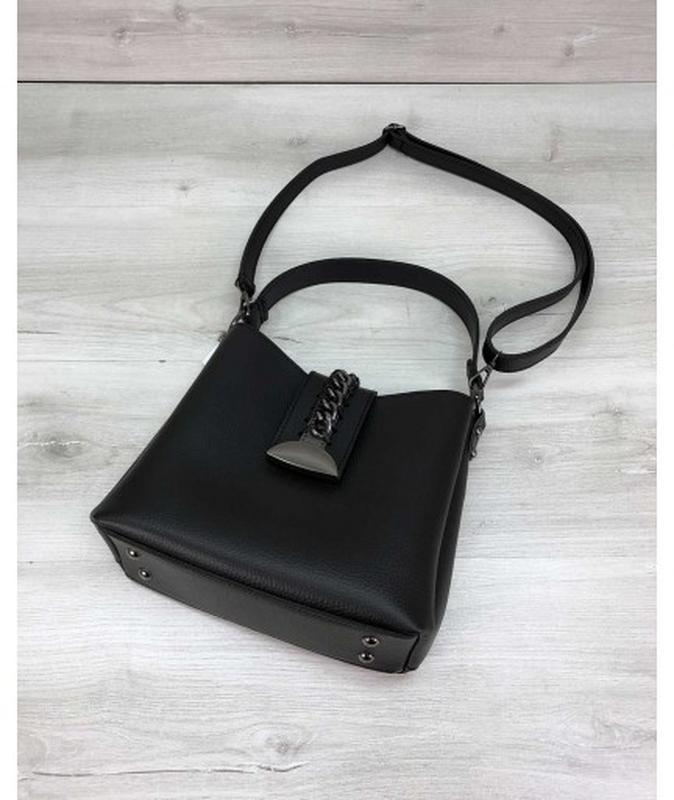 Молодежная женская сумка сати черного цвета - Фото 3