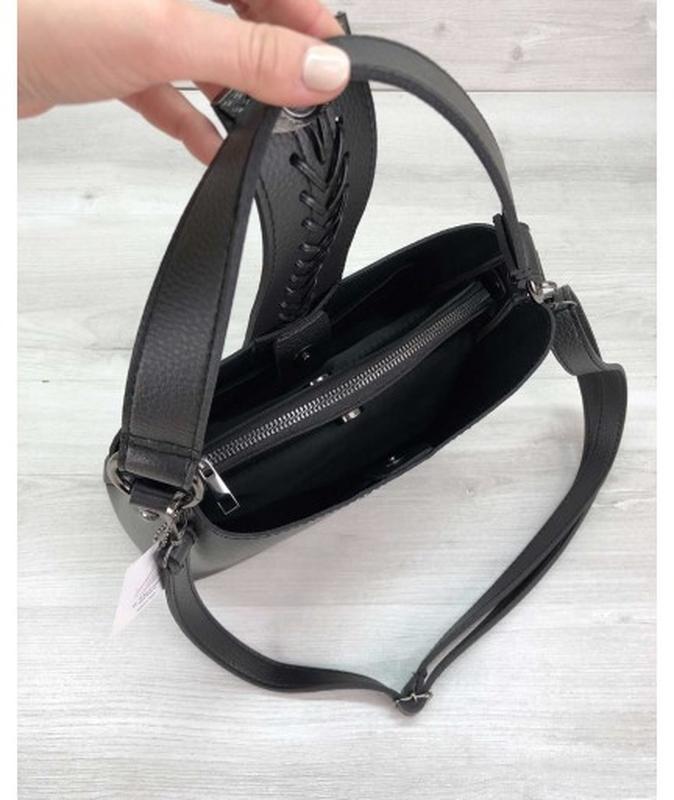 Молодежная женская сумка сати черного цвета - Фото 4
