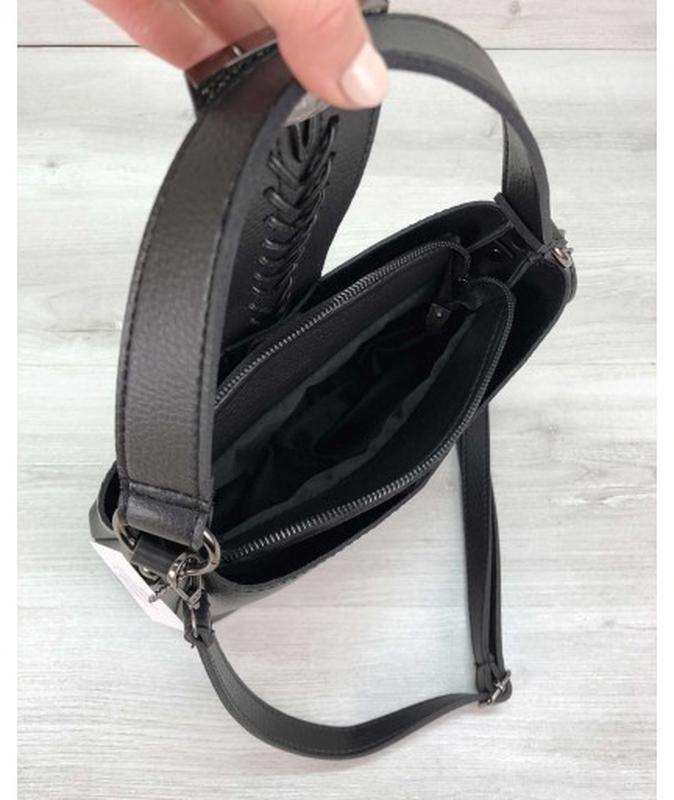 Молодежная женская сумка сати черного цвета - Фото 5