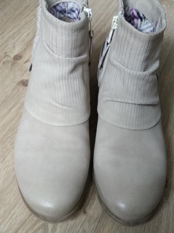 Приличные кожаные серо-бежевые ботильоны ботинки полуботинки