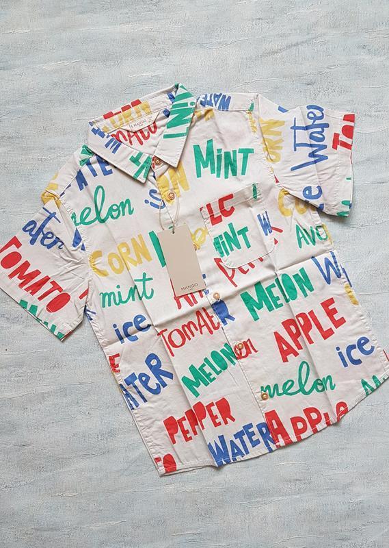 Летняя рубашка с короткими рукавами для мальчика mango.