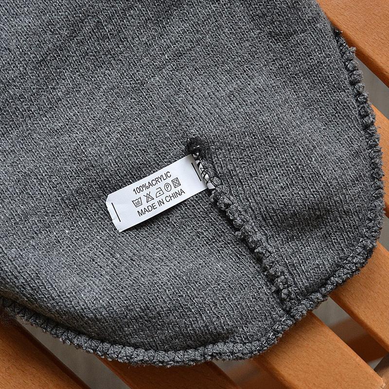 Мужская зимняя шапка tommy hilfiger big logo серая акриловая - Фото 2