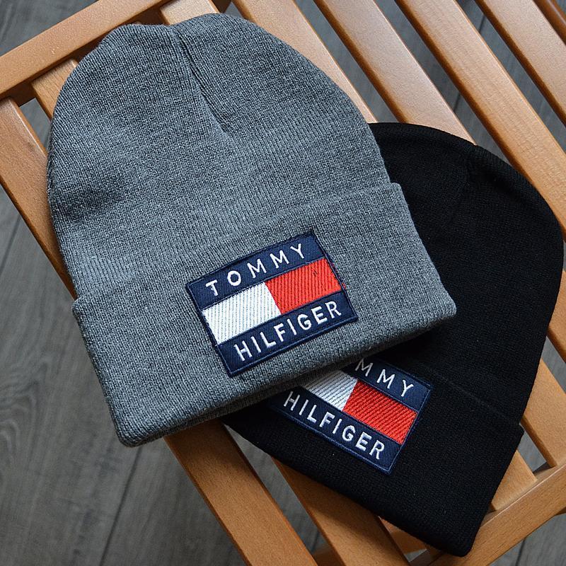 Мужская зимняя шапка tommy hilfiger big logo серая акриловая - Фото 3