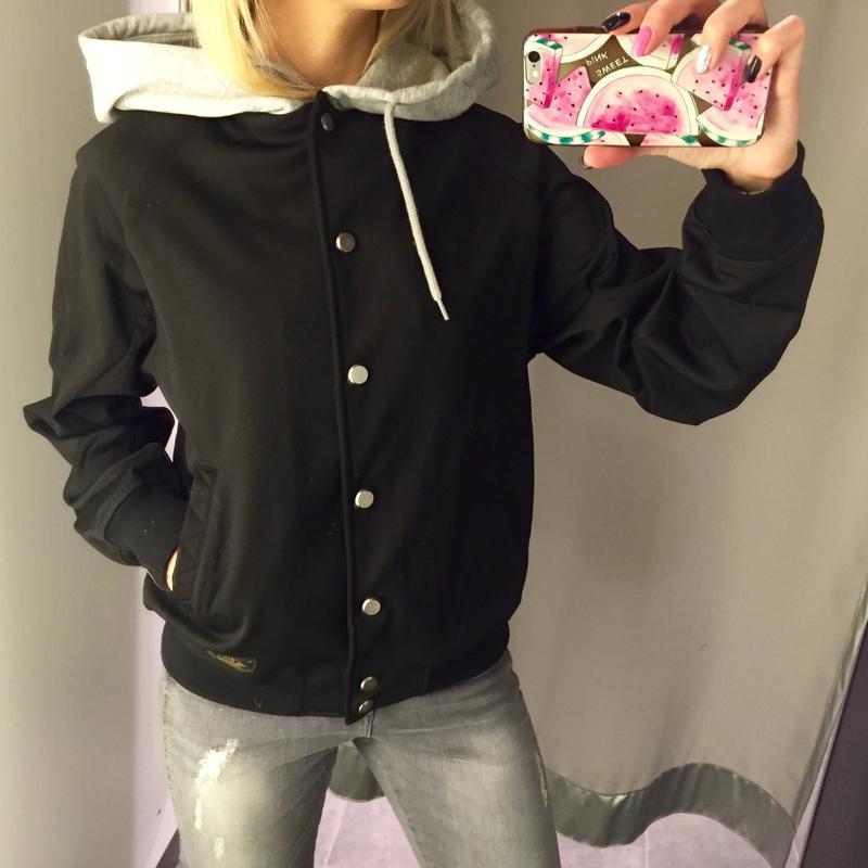 Бомбер с начёсом куртка с капюшоном ветровка. amisu. размеры х... - Фото 2