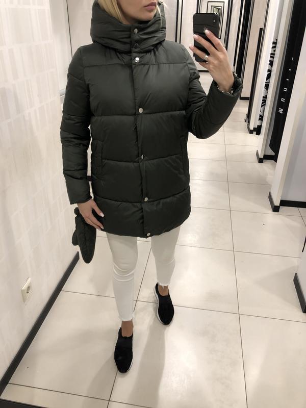 Дутая куртка еврозима цвета хаки курточка с капюшоном. mohito.