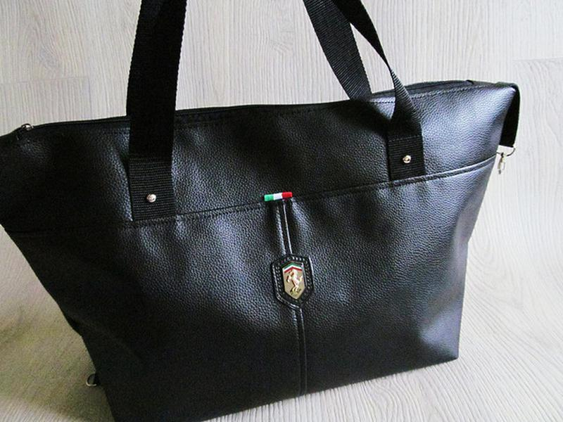 Стильная сумка кожзам черная - Фото 3