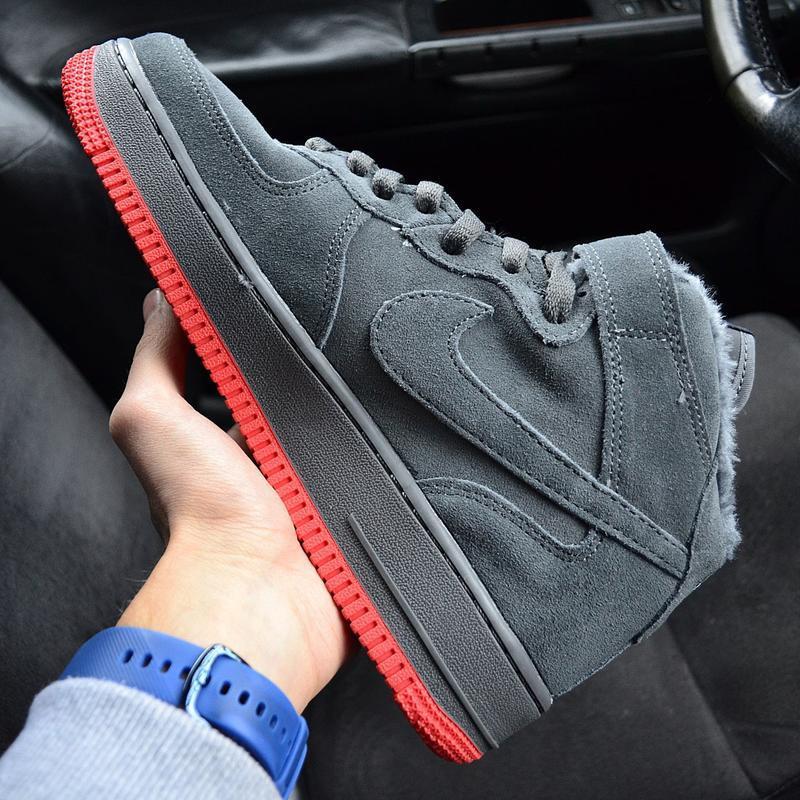 Nike air force mid winter grey мужские зимние кроссовки с мехо... - Фото 2
