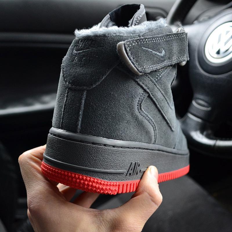 Nike air force mid winter grey мужские зимние кроссовки с мехо... - Фото 5