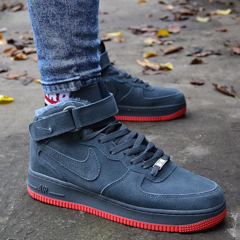 Nike air force mid winter grey мужские зимние кроссовки с мехо... - Фото 9