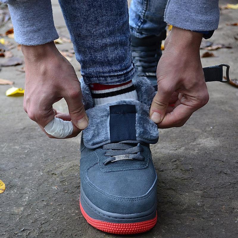 Nike air force mid winter grey мужские зимние кроссовки с мехо... - Фото 10