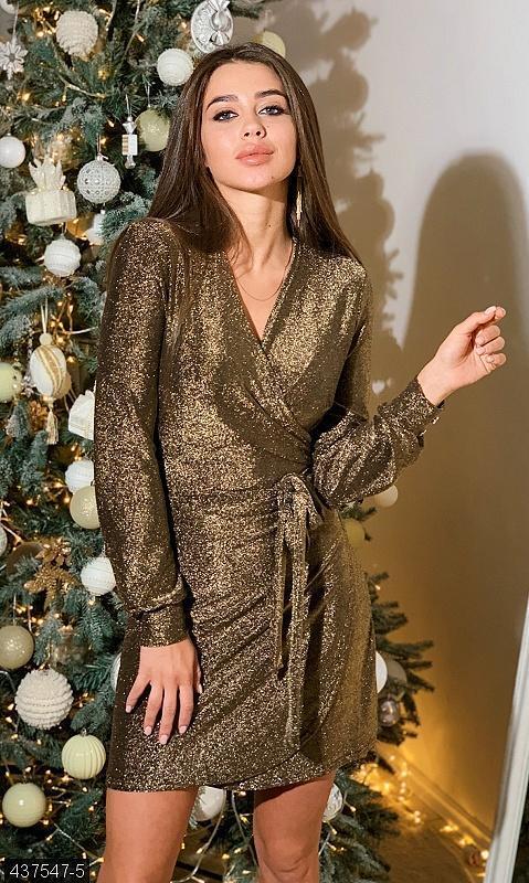 Платье на запах люрекс золото разные цвета