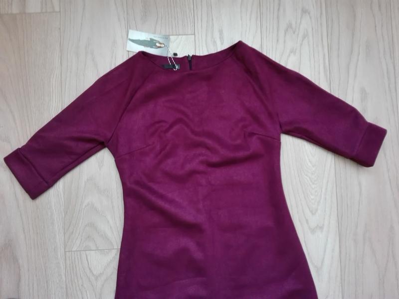Короткое замшевое платье красивого винного цвета, марсала, бордо - Фото 3