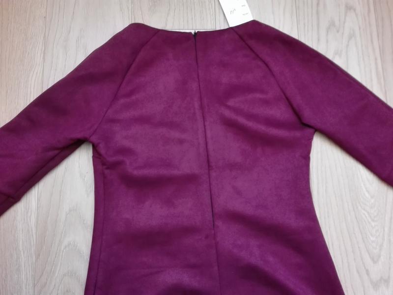 Короткое замшевое платье красивого винного цвета, марсала, бордо - Фото 4