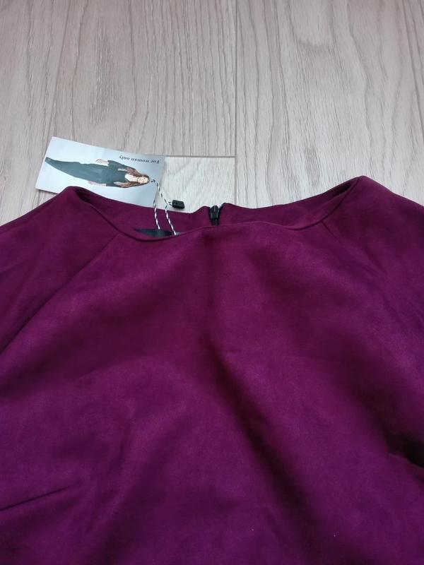 Короткое замшевое платье красивого винного цвета, марсала, бордо - Фото 5